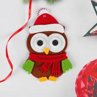 Ёлочное украшение из фетра «Сова в новогодней шапочке»