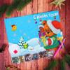 """Алмазная открытка """"Мишка. С Новым годом"""" 21х15 см"""