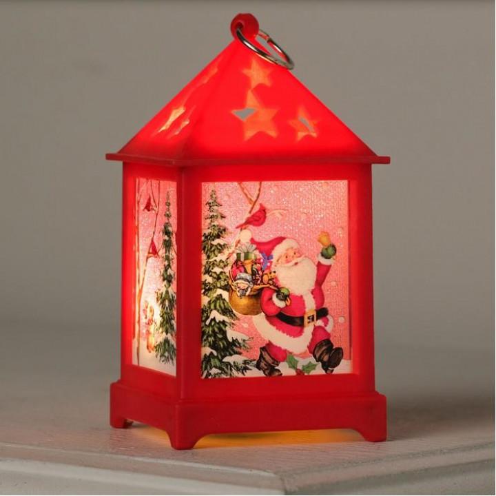 """Фигура светодиодная """"Фонарь красный, Дед Мороз"""", 1 LED, 13х6х6 см"""