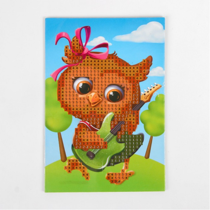 Алмазная мозаика для детей «Совушка с гитарой», 10 х 15 см