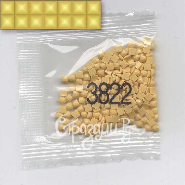 Стразы для алмазной вышивки DMC 3822 квадратные 1,4 г